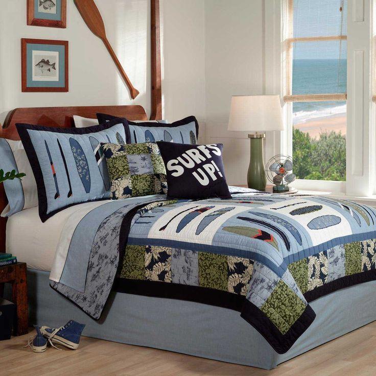 beach themed quilts | ... Beach House, Tropical Full / Queen Quilt & Sham Set (3 Piece Bedding