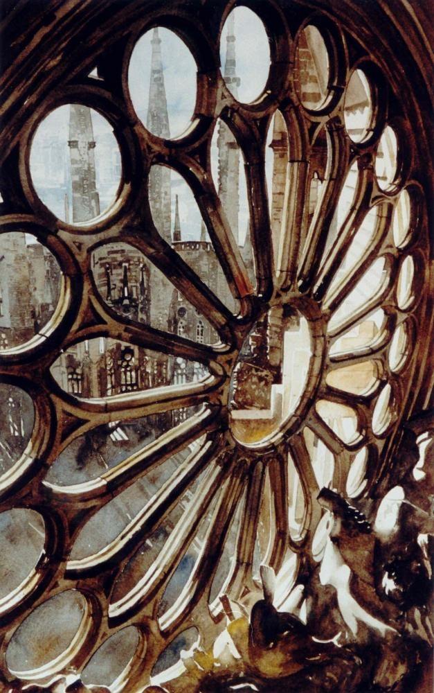 Paul Dmoch - Rosace, Sagrada Familia, Barcelona, Espagne - Aquarelle 56 x 35 - Paul Dmoch