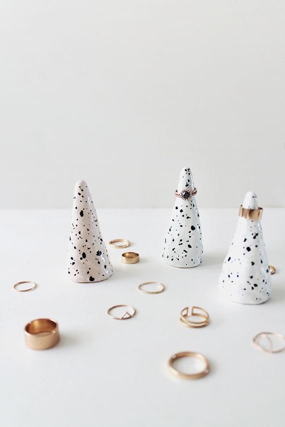 idea for mini metallic winter trees | DIY faux ceramic ring cones | almost makes perfect