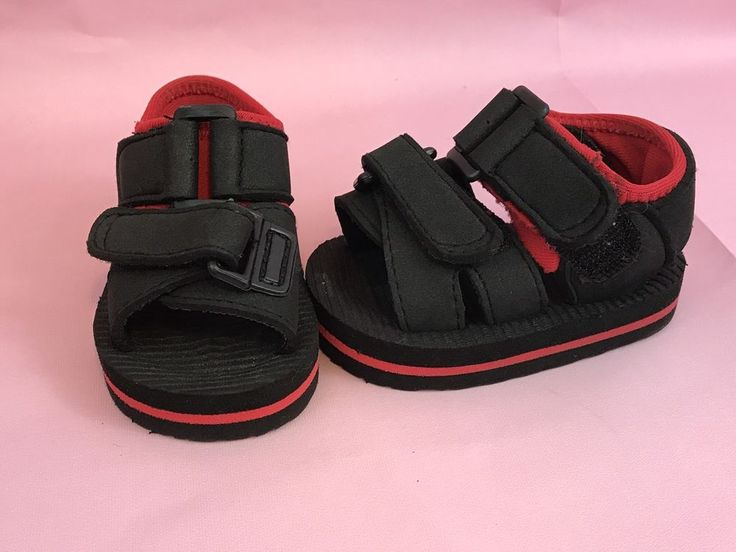 Boy's Black And Red Sandals Hook And Loop Fastener Size 0 Gift  | eBay