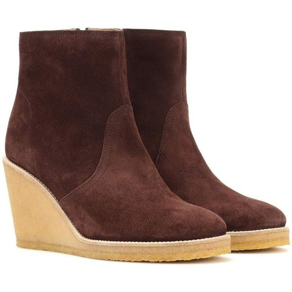 A.P.C. Gaya Suede Wedge Ankle Boots ($475) ❤ liked on Polyvore featuring shoes, boots, ankle booties, ankle boots, brown, mid-heel, suede ankle boots, brown wedge boots, wedge booties and suede bootie