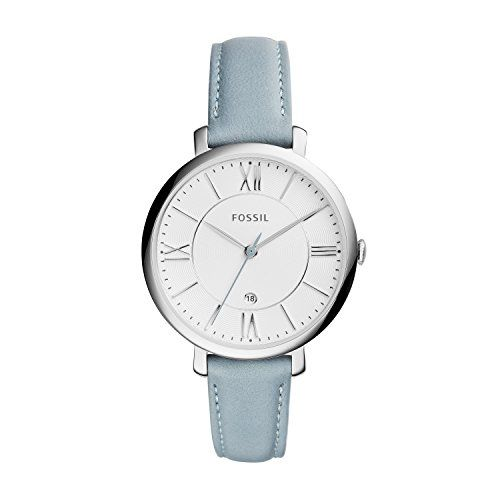 Fossil Women's ES3821 Jacqueline Analog Display Analog Quartz Watch with Blue Leather Band