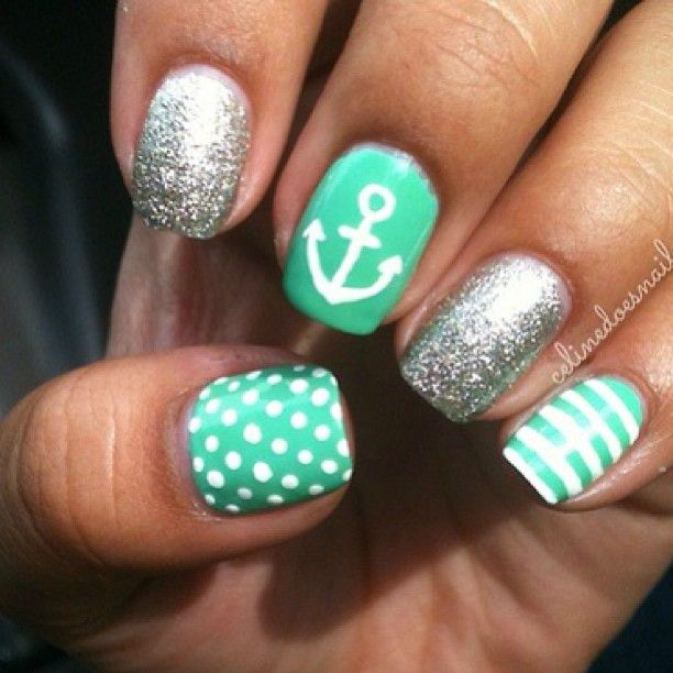 Green nautical Nail Art nail unhas unha nails unhasdecoradas nailart mint white