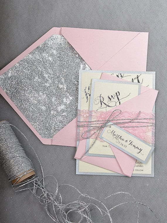 Custom listing (20) Pink Silver Glitter Wedding Invitation, Blush Pink Invitation, Wedding Glitter Invitations, Pink Lace  Inviation