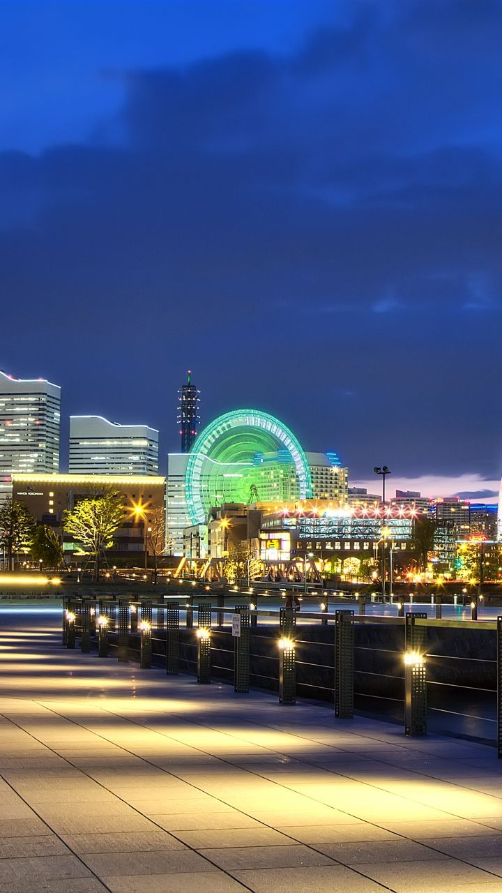 japan, yokohama, port, metropolis, night, lights, promenade, bay