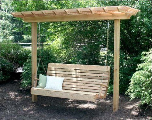Freestanding Yard Swings | it's a compact arbor that is cleverly designed to hold a porch swing ...