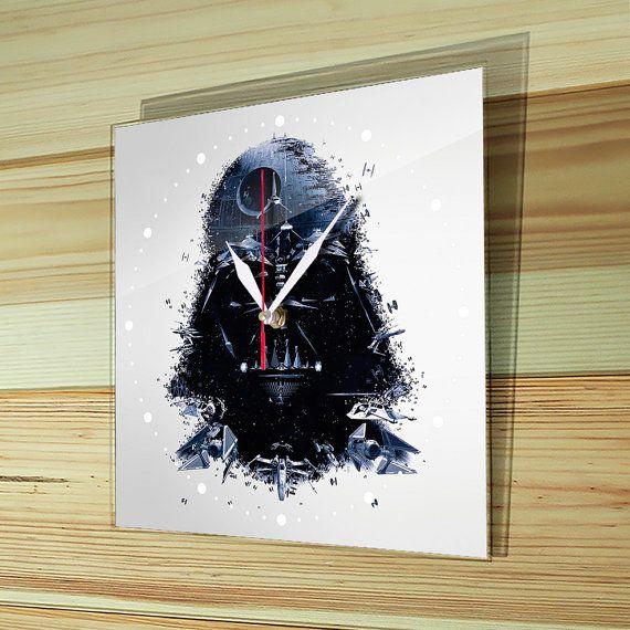 Wall clock glass, star wars wall clock, darth vader decor, darth vader, star wars clock, large wall clock, star wars dekor, SW-002