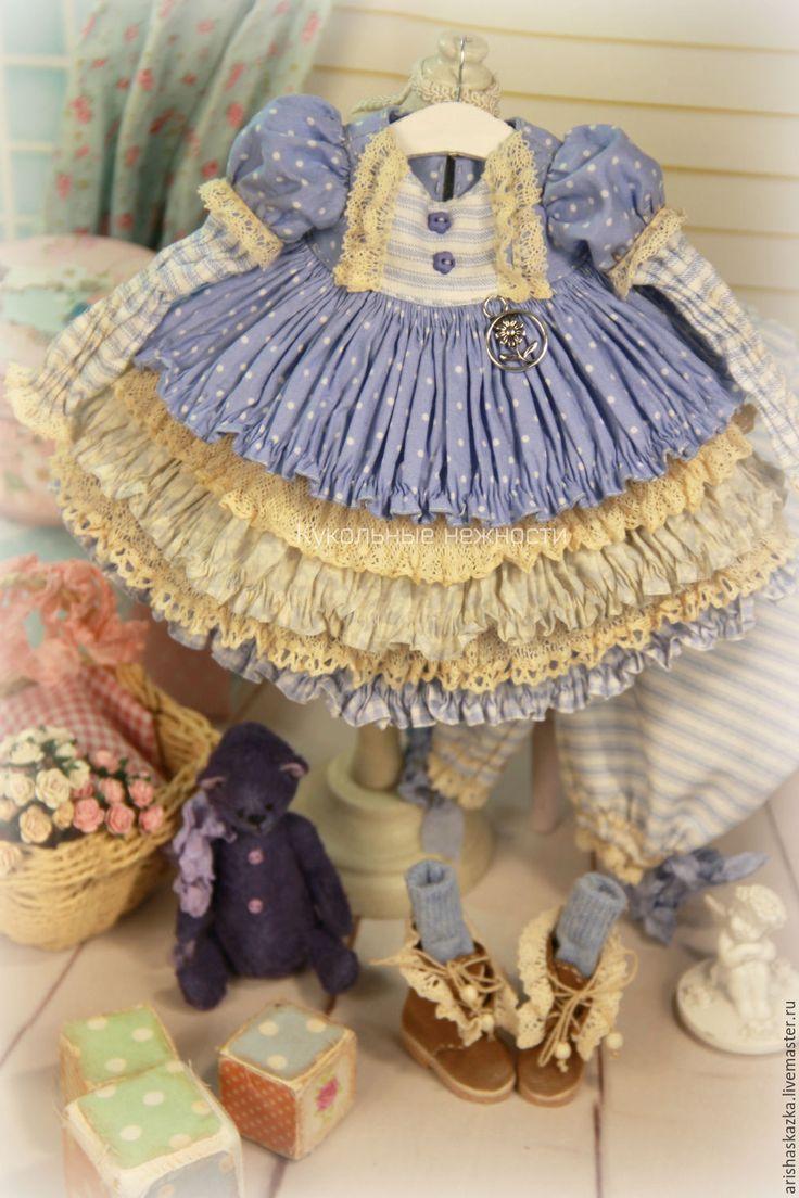 Купить Комплект для куклы стиль бохо , шебби шик - платье для куклы, обувь для куклы