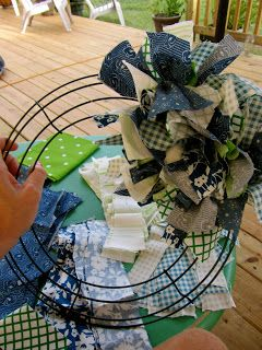 Fabric Wreath DIY Tutorial - wire wreath, 2 yards fabric (8 fat quarters) cut into ~2.5 inch wide strips, tied around frame.