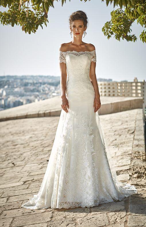 AMINA - abito da sposa con scollo omerale,stilo sirena in pizzo e tulle,vestito da sposa elegante