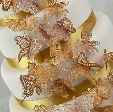 Butterflies Large Sugar Dress Cake Lace Mat By Claire Bowman