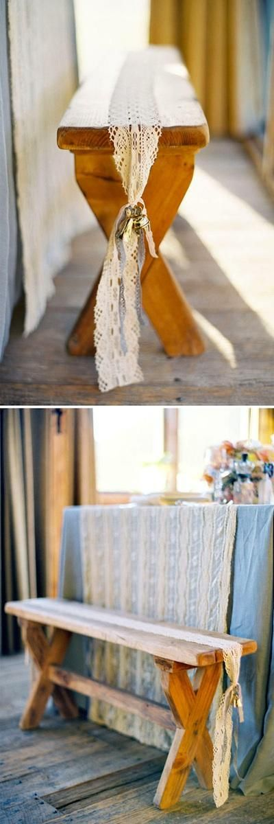 lace runner - finally, a way to dress up our benches