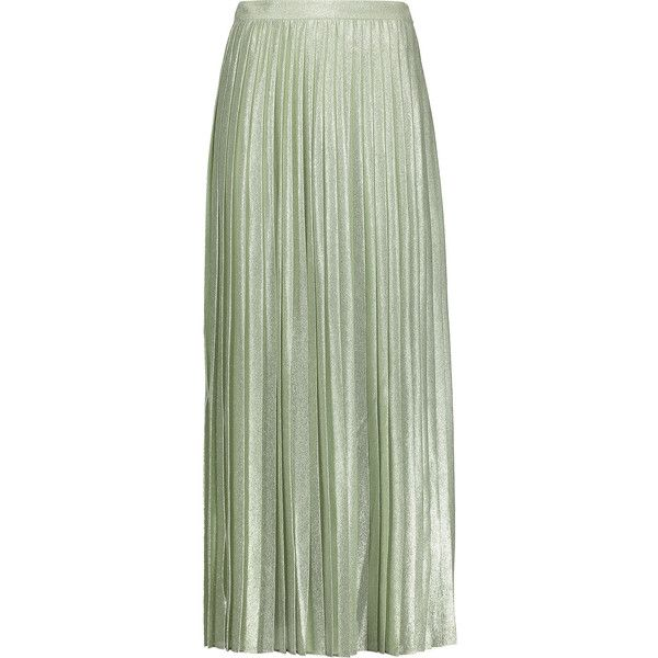 Adam Lippes Pleated metallic silk-blend maxi skirt ($690) ❤ liked on Polyvore featuring skirts, mint, long maxi skirts, maxi skirt, green pleated maxi skirt, floor length maxi skirt and green pleated skirt