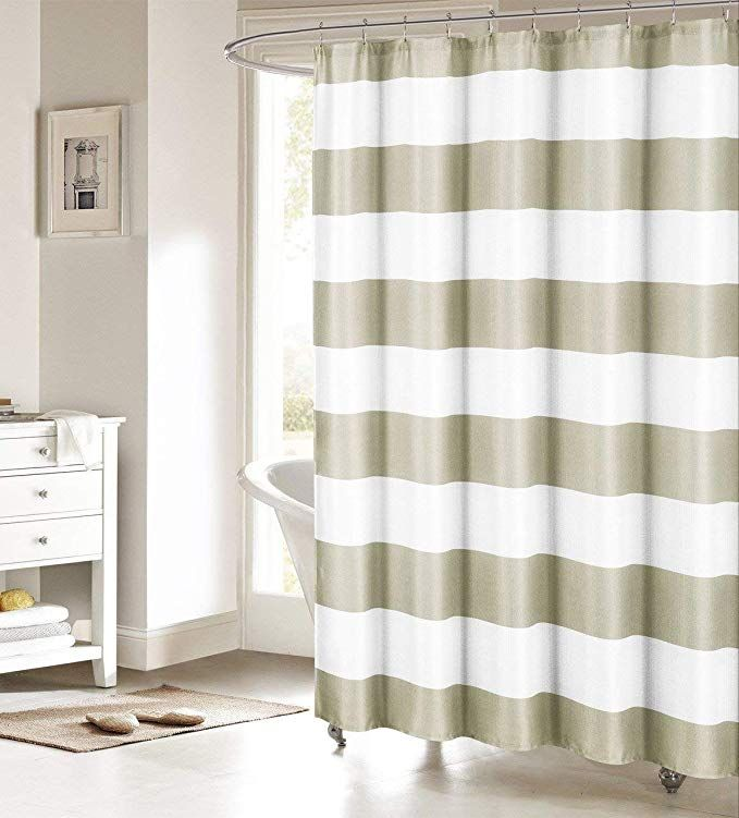 Nautical Stripe Design Black and White Fabric Shower Curtain Black and White