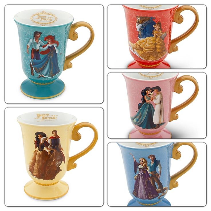 Designer Disney Fairytale Set Collection Mugs Ariel Snow White Belle Rapunzel