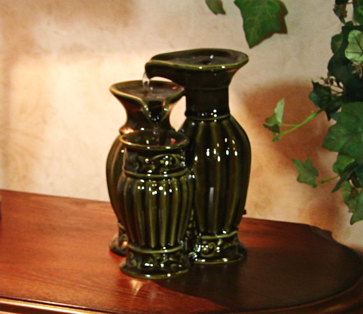 Pouring Vase Ceramic Tabletop Water Fountain   Home Office   Serenity Peace  Zen