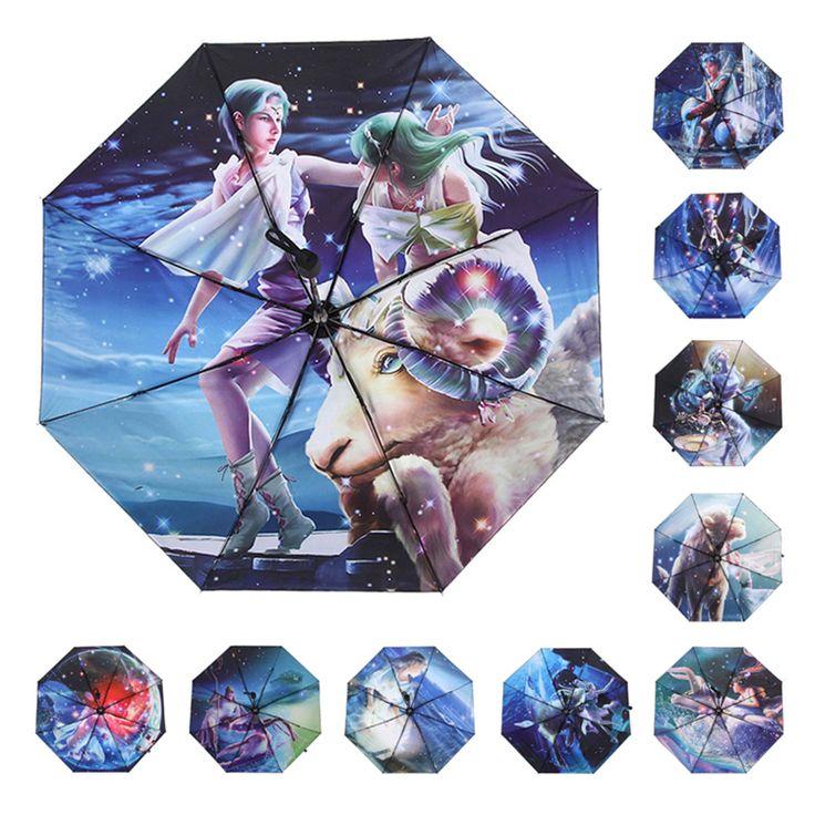 Hot Sale 12 Constellations Umbrella Cartoon Anti UV Women Lady Girl Rain Umbrella Windproof Sunny Strong Umbrellas HI19 #Affiliate