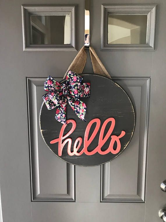 Hello Door Hanger Spring Door Hanger Wood Wreath Year