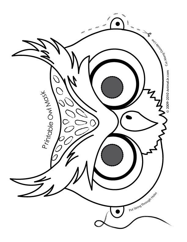 Printable Owl Mask to color (other halloween animals available here, too)