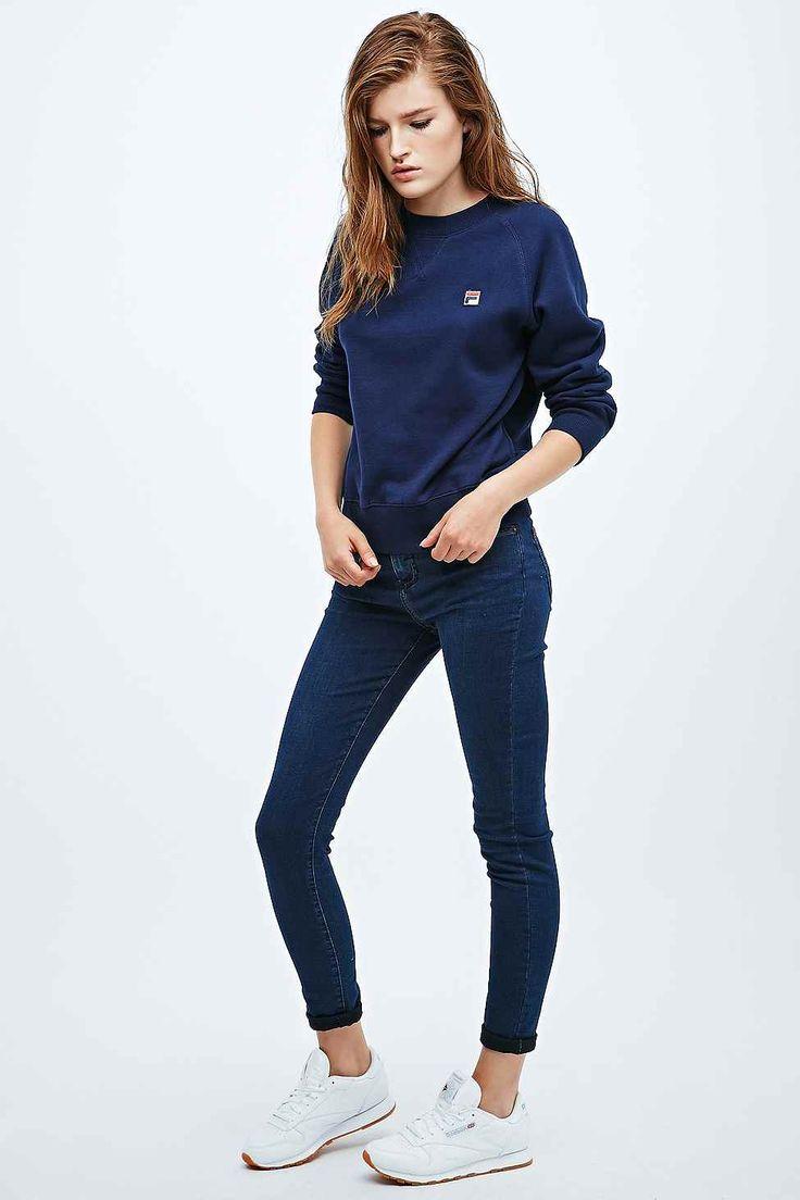 fila shrunken raglan sweatshirt in navy ropa de verano ropa deportiva y diario. Black Bedroom Furniture Sets. Home Design Ideas