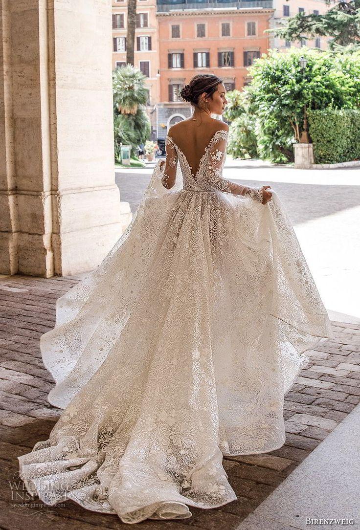 Birenzweig 2018 bridal long sleeves off the shoulder deep plunging v neck lace w…