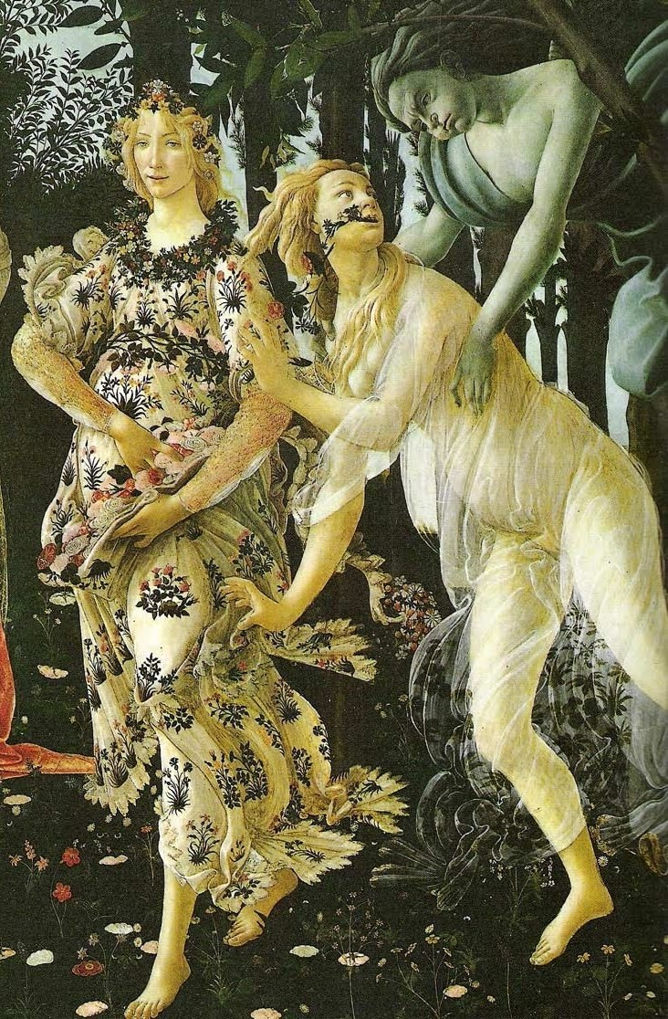 -Primavera detail of Zephyr, Chloris, and Flora as the Hour of Spring, Sandro Botticelli c.1482