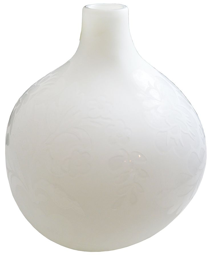 Floral Etched Glass Squat Cloud Vase in