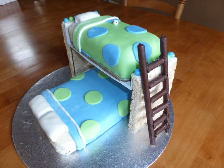 My son wanted a bunk bed cake, so here's what...