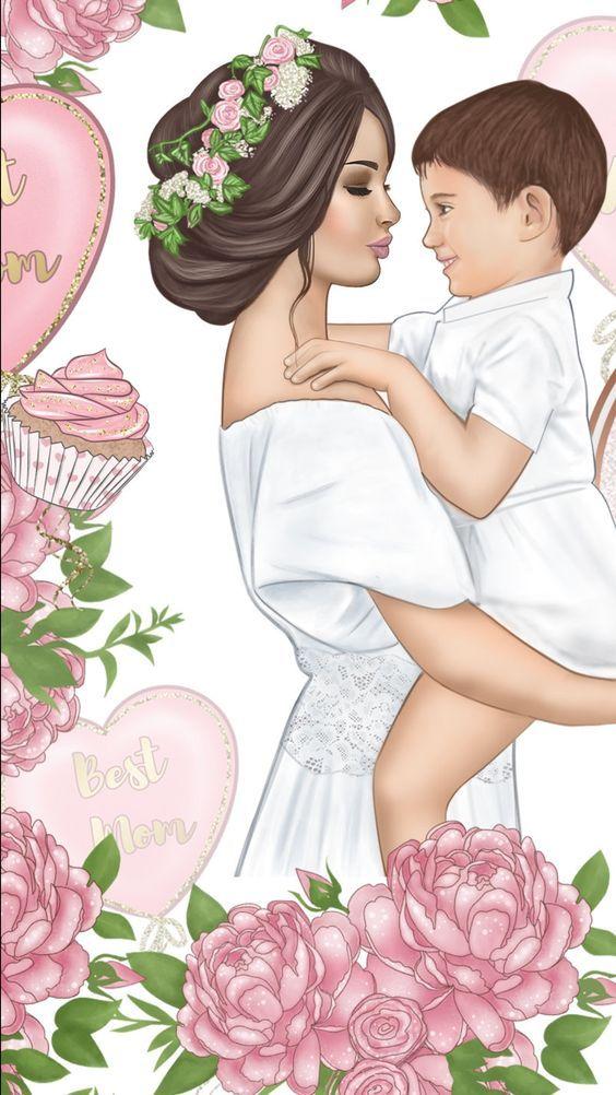 Останемся, мама с ребенком картинки рисованные