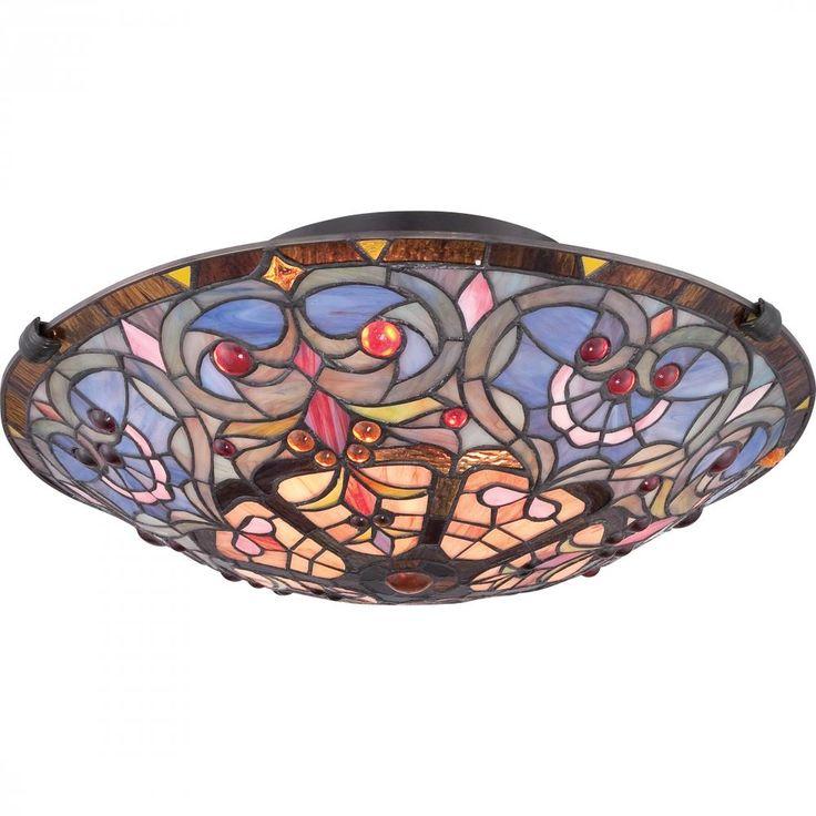 Quoizel Tiffany 2 Light Wide Flush Mount Ceiling Fixture With Vintage Bronze Indoor Lighting Fixtures