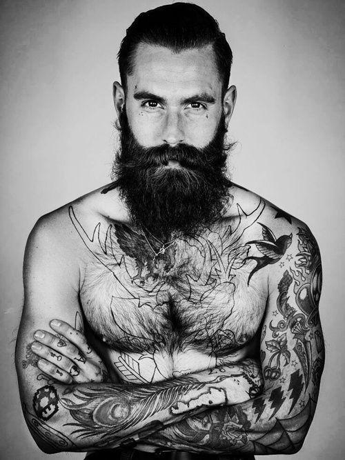 awesome Tattoo Ideas for Men - Ricki Hall. Black & White. Model. Man. Fashion. Tattoo. Hair. Beard. Art. Po...