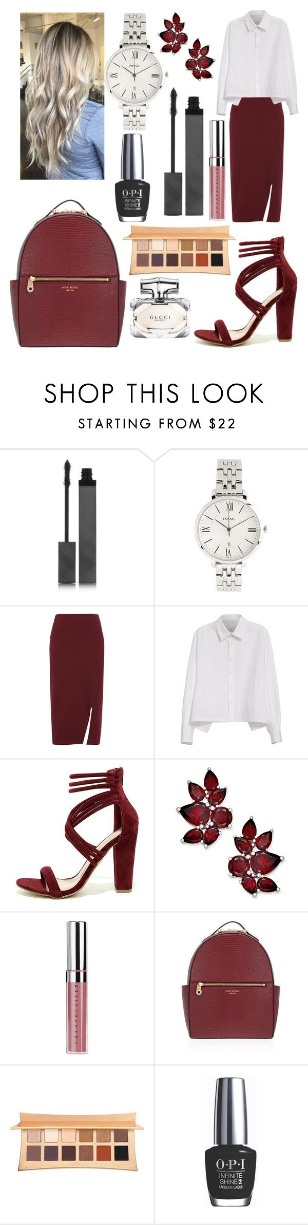 """💃🏻"" by dilya-kadyrova ❤ liked on Polyvore featuring Burberry, FOSSIL, Whistles, Y's by Yohji Yamamoto, Shoe Republic LA, Chantecaille, Henri Bendel, Illamasqua, OPI and Gucci"