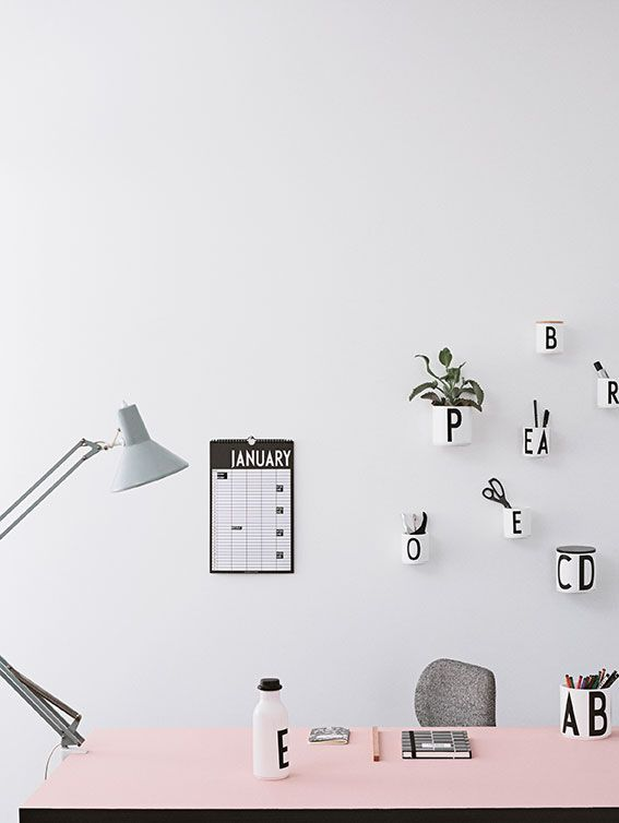A personal work space. Use the wall for organizing! Hang cups and jars on Cup Up and combine office accessories, writing utensils and plants to create a cool look and to store everything close at hand.