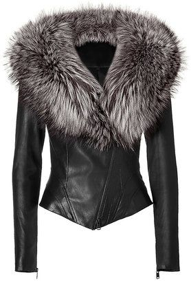 Stop! Hi, I need you.  JITROIS Black Leather Jacket with Fur Collar.