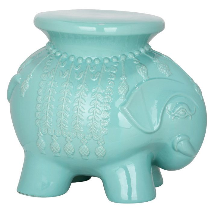 Elephant Shaped Ceramic Garden Stool With A Light Blue Finish.