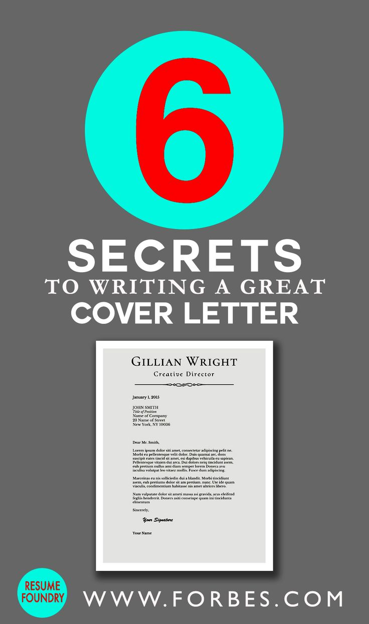 6 secrets to writing a great cover letter. Resume Example. Resume CV Cover Letter