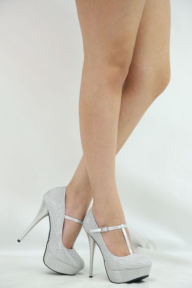 SEXY SILVER CLOSED TOE T-STRAP STILETTO HIGH HEEL PLATFORM WOMEN PUMP SHOE SZ6.5