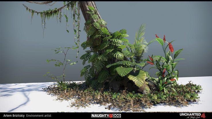 Uncharted 4 - vegetation, Artem Brizitskiy on ArtStation at https://www.artstation.com/artwork/m6Qqy