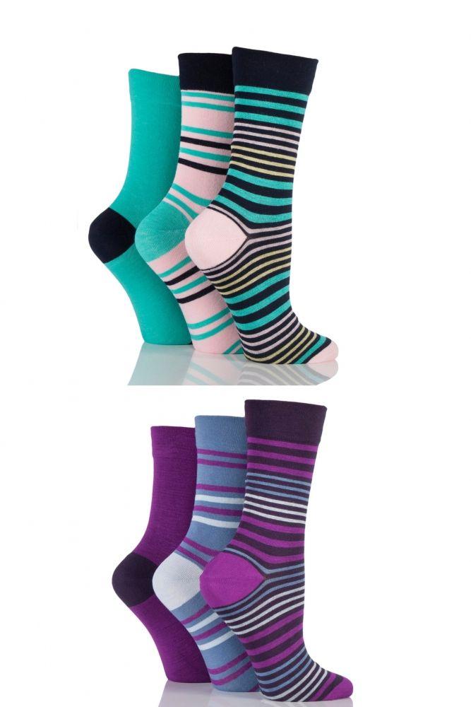 Ladies 6 Pair SockShop Comfort Cuff Bamboo Socks