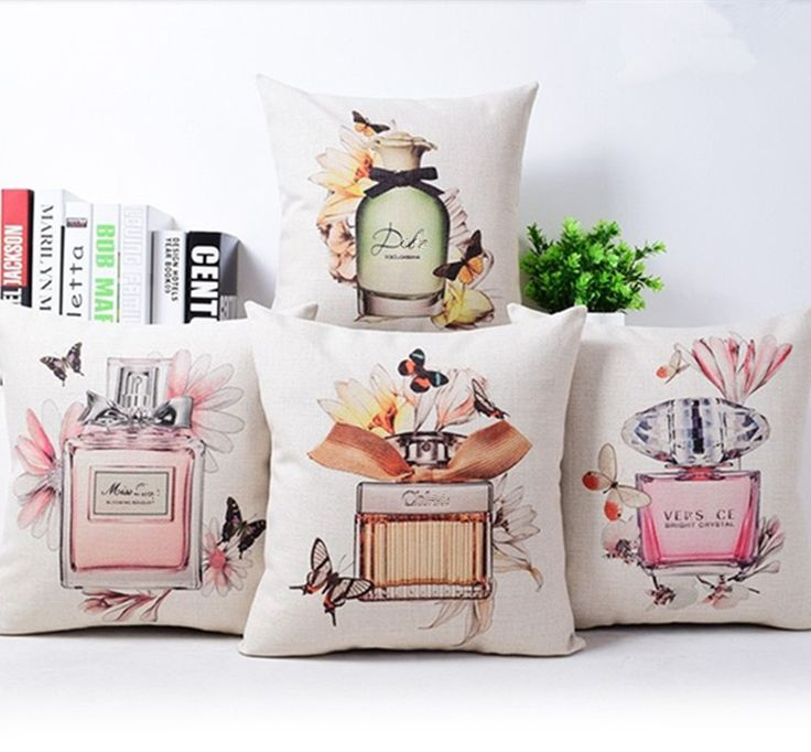 Cheap cushion cover, Buy Quality throw pillow covers directly from China decorative throw pillow covers Suppliers: Decorative throw pillow cover case  Perfume bottles cotton linen seat waist cushion cover for sofa home decor capa de almofadas