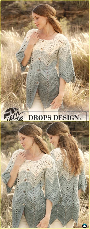 Crochet Sea Waves Zigzag Jacket Free Pattern - Crochet Women Sweater Coat & Cardigan Free Patterns