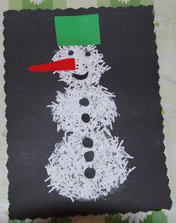 Pomůcky: černý výkres,nůžky,tvarovací nůžky,lepidlo,skartovaný papír,barevný papír Postup: Pomocí lepidla nakreslíme 3 koule nad sebou. P...