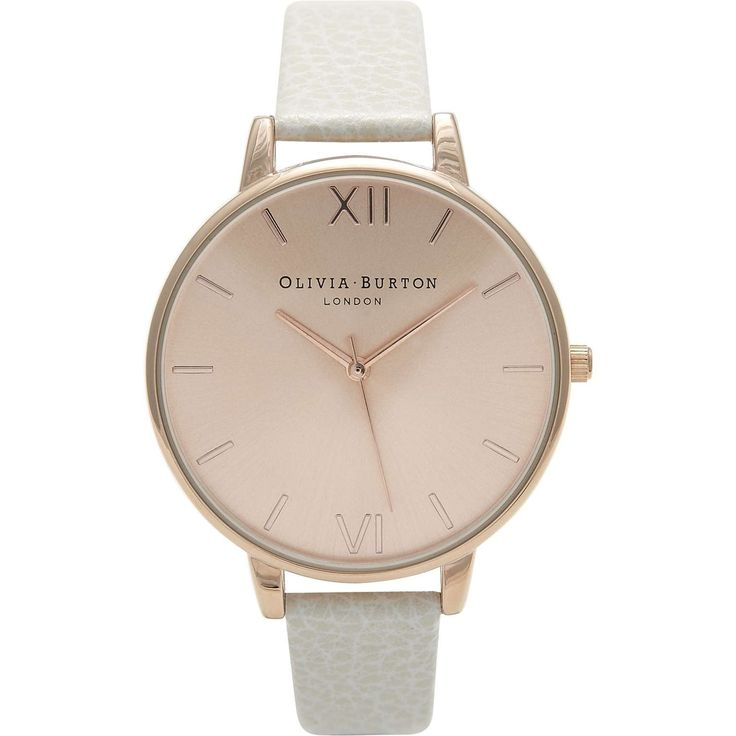 This attractive ladies Olivia Burton Big Dial watch is made from PVD rose plating and is fitted with a quartz movement. It is fitted with a white leather  strap and has a rose dial.