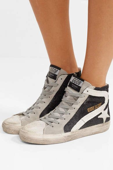 2eb5267eb2ef Golden Goose Slide Glittered Distressed Suede High-top Sneakers - Black # Glittered#Distressed#Slide