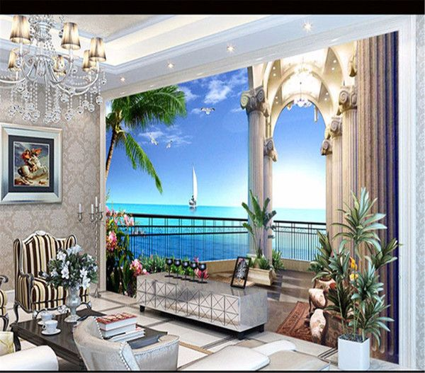 3d wallpaper custom mural balcony seaside coconut tree background home decoration TV bedroom sofa children wallpaper 3d