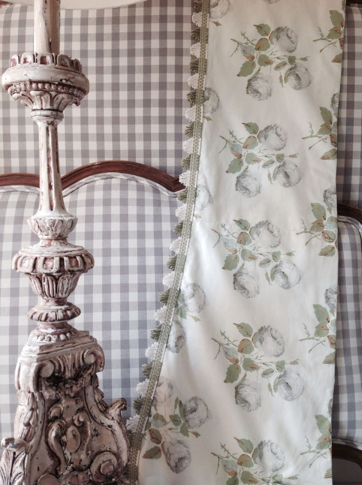 Bedroom project | lamp & french bed from Hattie Hatfield alongside colefax & fowler bowood fabric x