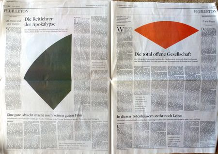 Ah, if only all editorial design could take such a daringly beautiful leap forward. Last year, the German newspaper, Die Welt, published a special edition promoting the work of the American painter, Ellsworth Kelly, who was being feted with two exhibitions in Munich. Across all the paper's sections, images were limited only to Kelly's highly photogenic, monochromatic abstractions. Mildly brilliant.