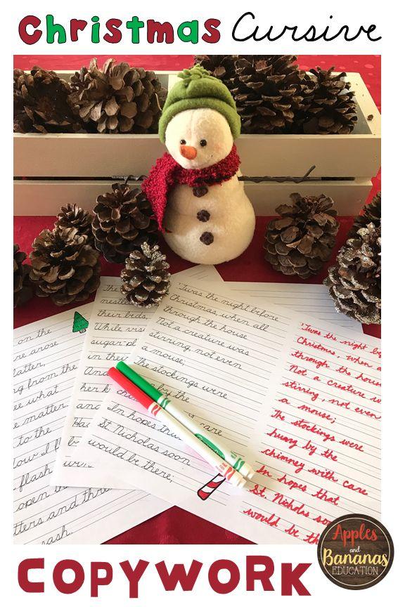 Christmas Copywork Cursive Handwriting Practice
