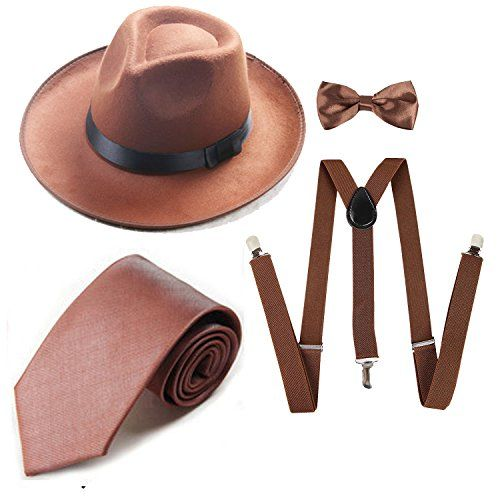 Discounted ZeroShop 1920s Mens Accessory Set Manhattan Fedora Hat c756ddb8d637