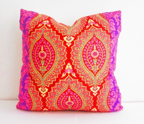 Purple and Pink Pillows, Square Pillow Decorative Pillows, Bohemian Chic Pillows, Boho Cushions, Purple Cushion, Bohemian Pillow Case, 18""